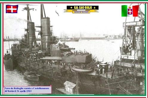 24.4.1913Varo nave Caio Duilio - www.lavocedemarinaio.com