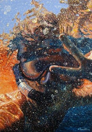 Il subacqueo - Acrilico su tavola 35x20 di Martina Benedetti - www.lavocedelmarinaio.com