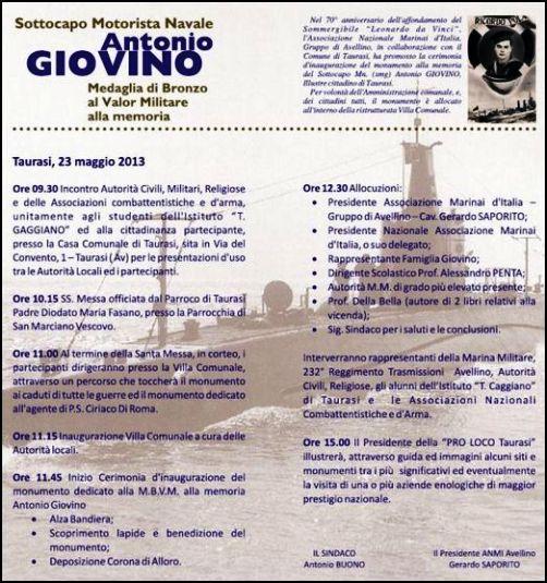 23.5.1013 ntonio Giovino e  ANMI AVELLINO (TAURASI) - www.lavocedelmarinaio.com