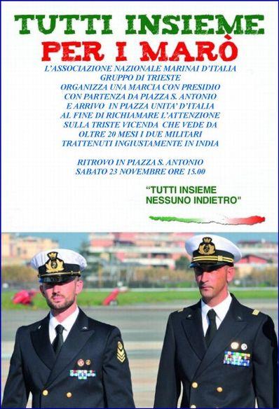 23.11.1013 a Trieste per i due Marò - www.lavocedelmarinaio.com