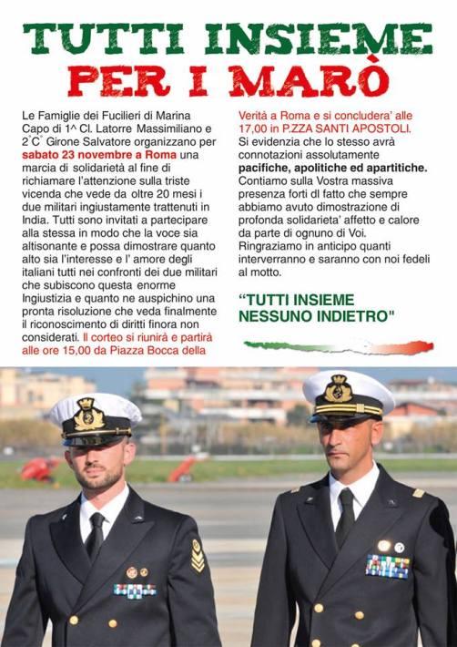 23.11.2013 a Roma per Massimiliano Latorre e Salvatore Girone - www.lavocedelmarinaio.com