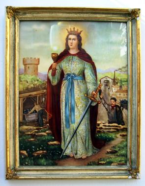 Il quadro di Santa Barbara in possesso della Famiglia Miccoli (foto per gentile concessione a www.lavocedelmarinaio.com)