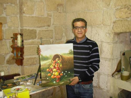 Toty Donno e la cascata di frutta (olio su tela) - www.lavocedemarinaio.com