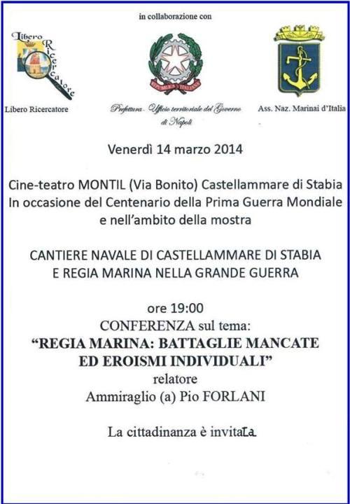 14.3.2014 a Castellammare di Stabia Conferenza su Regia Marina - www.lavocedelmarinaio.com