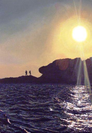 Pescatori al tramonto - Martina Benedetti acrilico su tavola 35x50 - www.lavocedelmarinaio.com