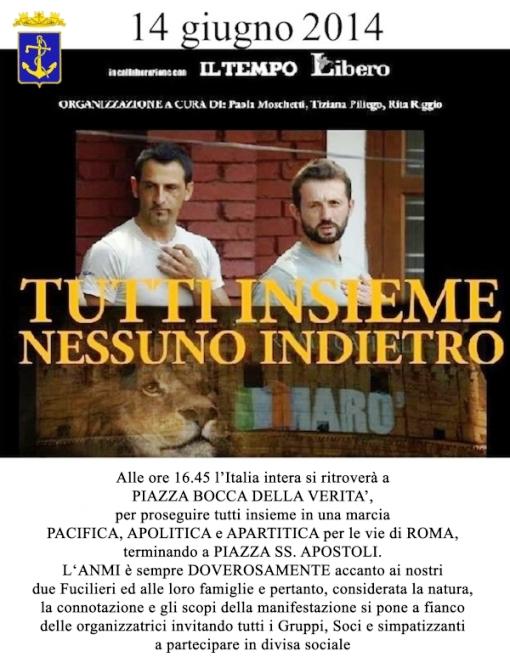14.6.2014 a Roma per i due marò - www.lavocedelmarinaio.com
