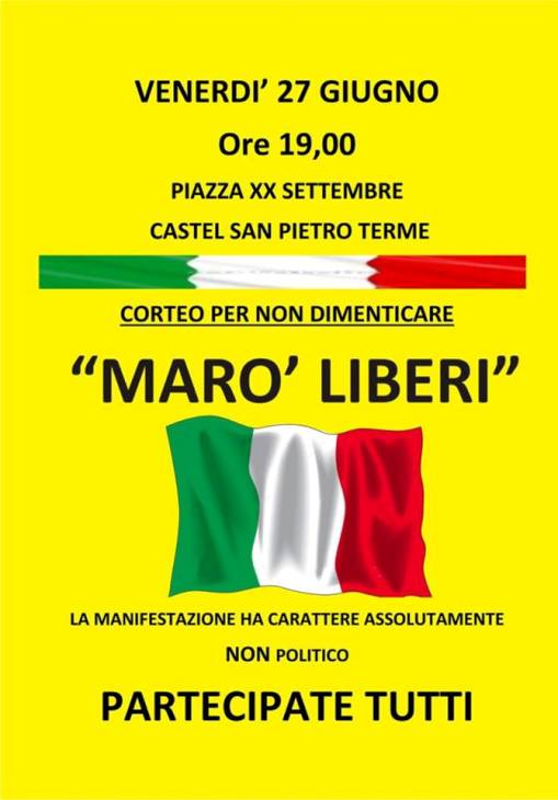 27 giugno 2014 a Castel San Pietro Terme per i due Marò - www.lavocedelmarinaio.com