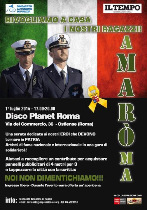 1.7.2014 a Roma Disco Planet per i due Marò - www.lavocedelmarinaio.com
