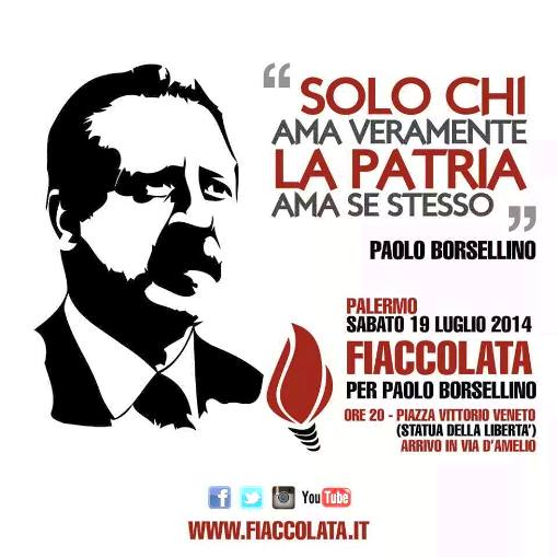 19.7.2014 a Palermo fiaccolata per Paolo Borsellino - www.lavocedelmarinaio.com