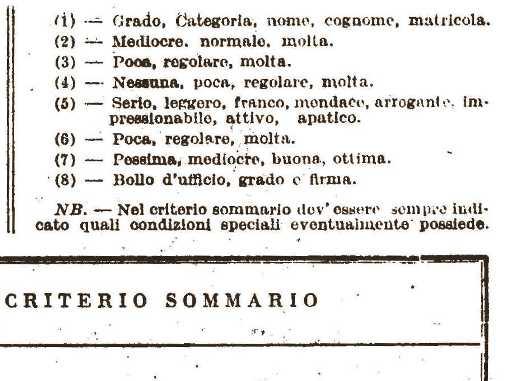 Particolare dello stampato delle note caratteriatiche al personale della regia Marina - www.lavocedelmarinaio.com