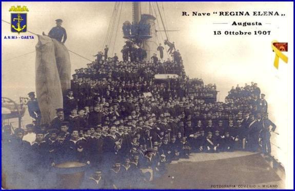 13 ottobre 1907, saluti dalla regia nave Regina Elena - f.p.g.c. Carlo Di Nitto a www.lavocedelmarinaio.com