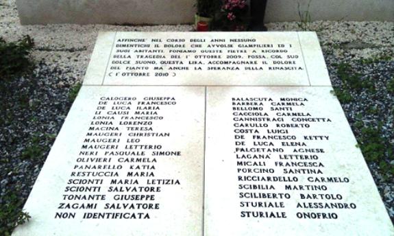 Monumento a ricordo dei 37 morti dell'aluvione di Giampilieri  - www.lavocedelmarinaio.com