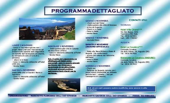 Programma raduno 2014 equipaggi Altair, Andromede, Aldebaran Augusta 3-9.11.2014 - www.lavocedelmarinaio.com