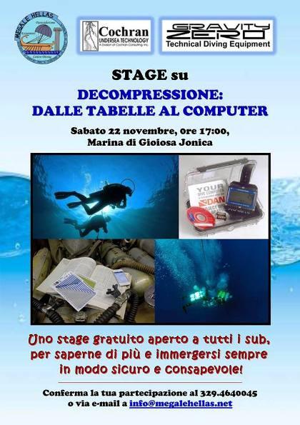 22.11.2014 a Marina Gioiosa Jonica stage su decompressione tabelle al computer - www.lavocedelmarinaio.com