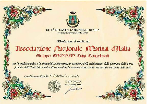 Riconoscimento ad Anmi Stabia per il 4.11.2014 - www.lavocedelmarinaio.com