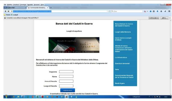 BANCA DATI DEI CADUTI IN GUERRA fac simile dal sito ufficiale