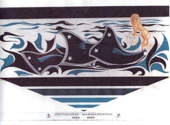 Bozzeto del pannello ceramico realizzato al circolo ufficiali di La maddalena (f.p.g.c. Egidio Alberti a www.lavocedelmarinaio.com)