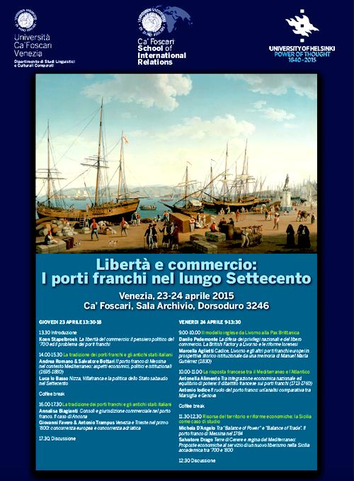 23-24.4.22015 a Venezia Libertà e commercio i porti franchi nel lungo Settecento - www.lavocedelmarinaio.com