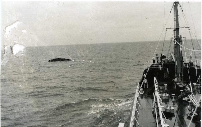 Il relitto fotografato dalla nave Esso DENEB  (f.p.g.c. Nardo Mastroieni a www.lavocedelmarinaio.com