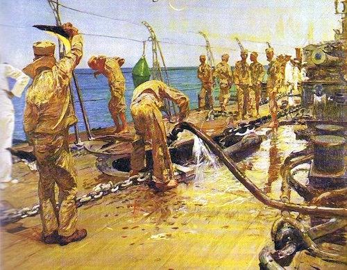 Lavoratori del Mare.Olio su tela 129x155.di Giulio Aristide Sartorio.Appartenente alla Fondazione Cavallini Sgarbi. copia
