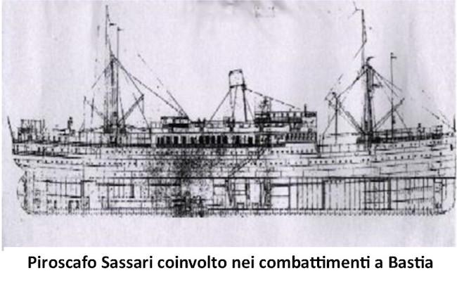 Piroscafo Sassari coinvolto nei combattimenti a Bastia