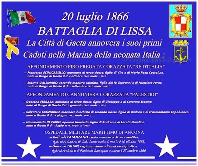 20.7.1866 la citta di Gaeta ai Marinai caduti nella Battaglia di Lissa - www.lavocedelmarinaio.com
