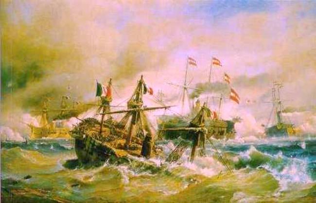Affondamento regia nave Re d'Italia dipinto C.F.Sorenson - COPIA - www.lavocedelmarinaio.com