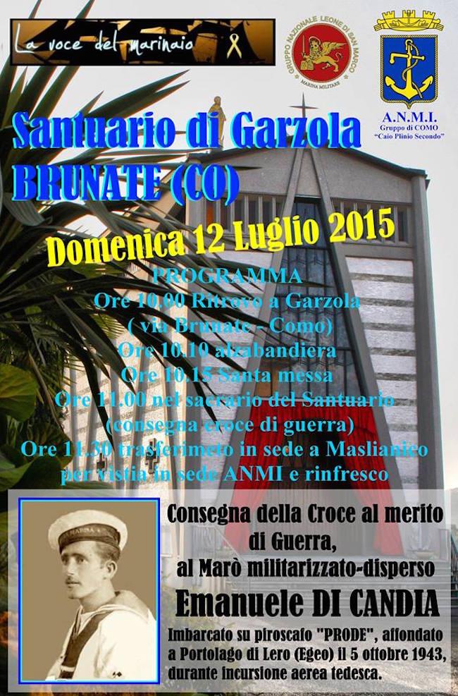 Emanuele Di Candia consegna  croce al merito di guerra - www.lavocedelmarinaio.com - 12.7.2015 Santuario di Garzola Brunate