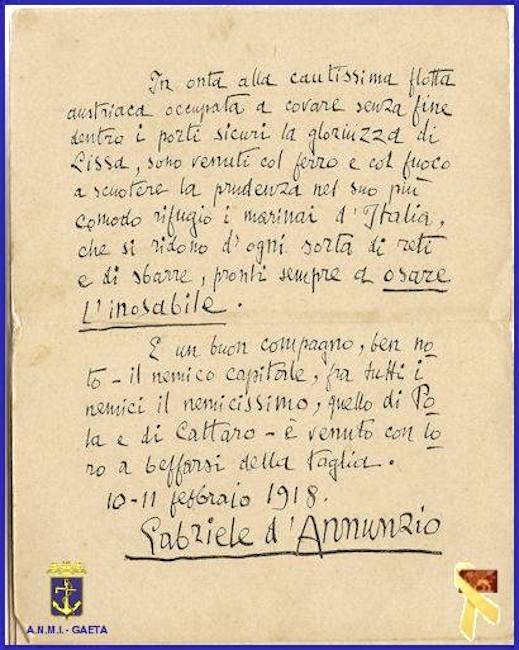 La Gloriuzza di Lissa ricordata G. D'Annuzioa Buccari (f.p.g.c. Carlo Di NItto) - www.lavocedelmarinaio.com