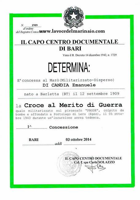 Di Candia Emanuele Attestato di concessione Croce al Merito di Guerra - www.lavocedelmarinaio.com