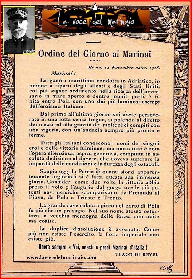 14.11.1918 Tahon de Reve ordine del giorno ai marinai - www.lavocedelmarinaio.com - copia