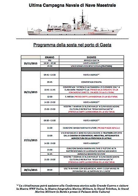 25-28.11.2015 programma sosta nave maestrale a Gaeta - www.lavocedelmarinaio.com