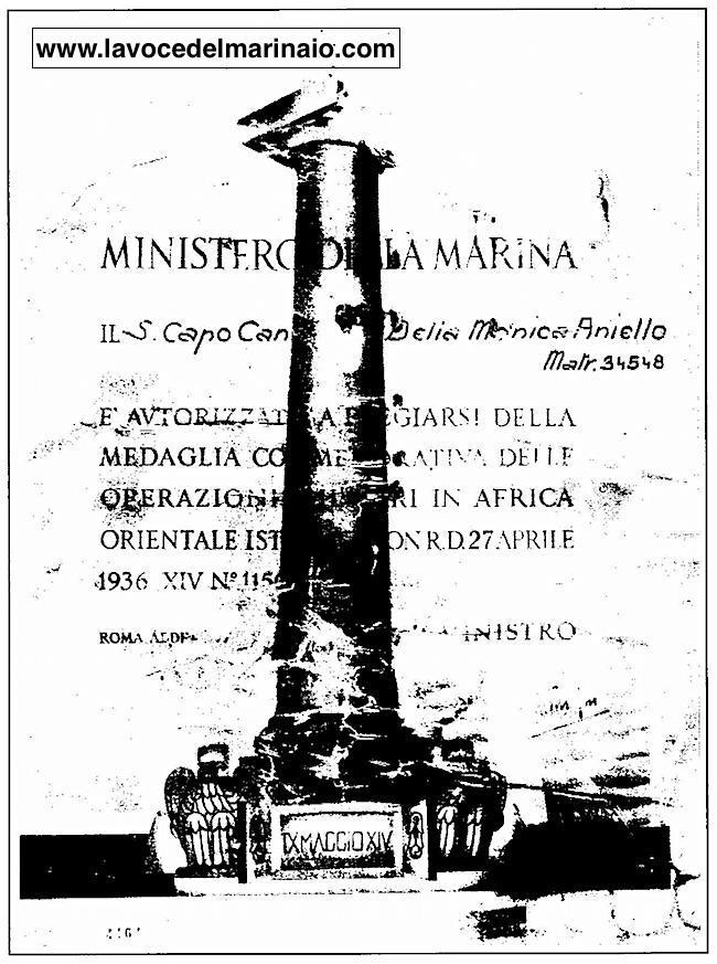 Attestato di riconoscimento rilasciato ad Aniello Della Monica - www.lavocedelmarinaio.com
