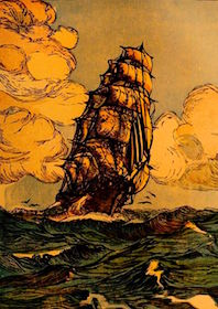 Cartolina di nave Vespucci - www.lavocedelmarinaio.com