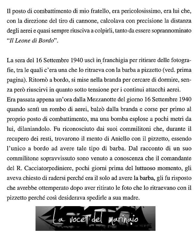 TESTIMONIANZA DEL FRATELLO DI ANIELLO DELLA MONICA - WWW.LAVOCEDELMARINAIO.COM
