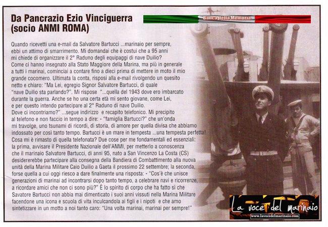 articolo su Salvatore Bartucci pubblicato da Ezio Vinciguerra su giornalino A.N.M.I. - www.lavocedelmarinaio.com