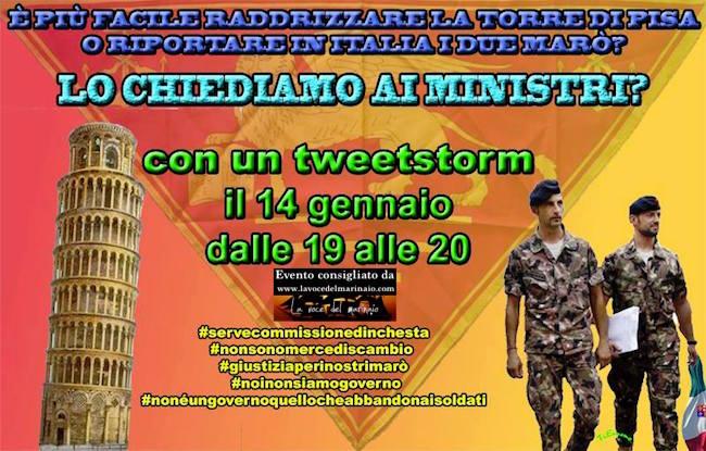14.1.2016 tweet storm a favore Massimiliano Latorre e Salvatore Girone - www.lavocedelmarinaio.com