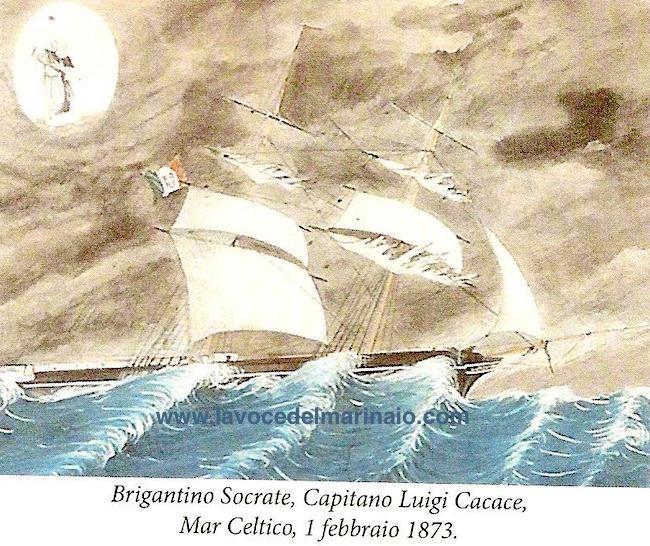 1.2.1873 Ex voto - Brigantino Socrate, Capitano Luigi Cacace - www.lavocedelmarinaio.com