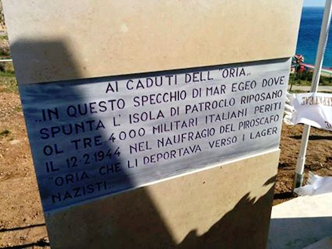 monumento ai caduti del piroscafo Oria - foto internet