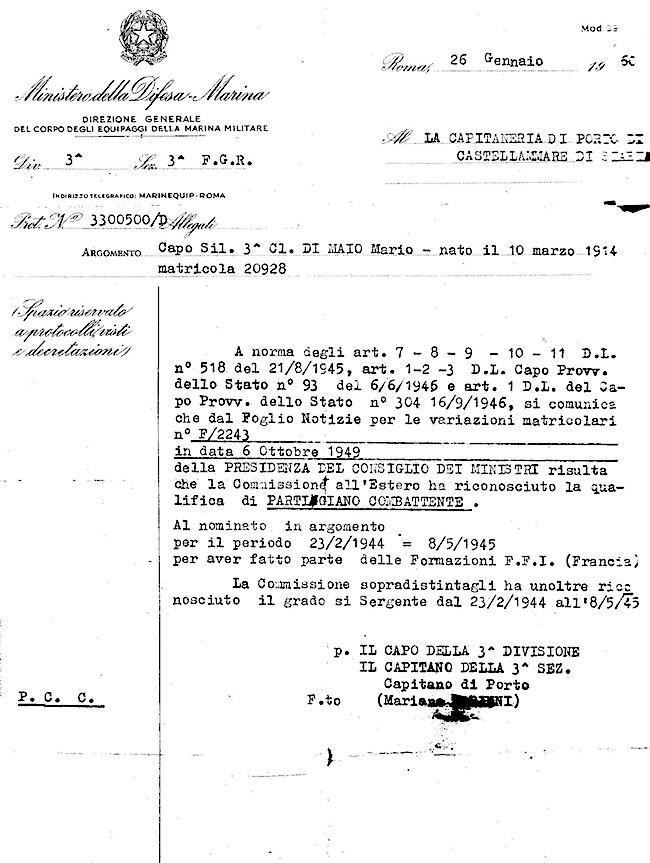 Mario di Maio attestato di qualifica di partigiano combattente - www.lavocedelmarinaio.com