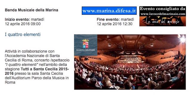 12.4.2016 a Roma banda della Marina auditorium S. Cecilia - www.lavocedelmarinaio.com