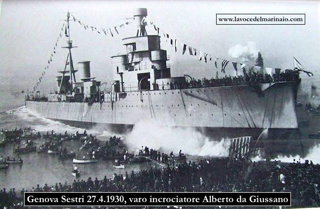 27.4.1930 varo incrociatore Alberto da Giussano a Genova Sestri - www.lavocedelmarinaio.com