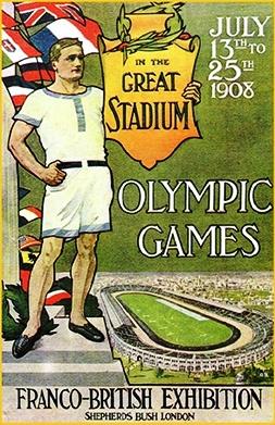 Lalocandina dei giorchi olimpici di Londra 1908 (foto internet) - www.lavocedelmarinaio.com