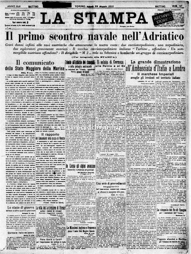 28.5.1915 il primo scontro navale in Adriatico