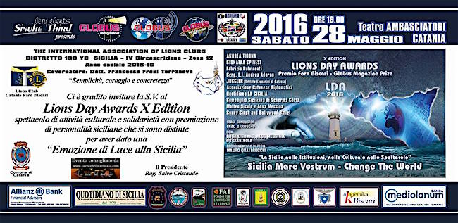 28.5.2016 a Catania Lions Day awards X Edition - www.lavocedelmarinaio.com