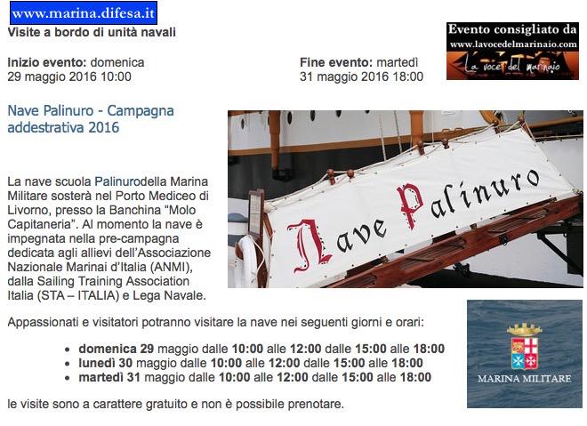 29-31.5.2016 a Livorno visite al pubblico a bordo di nave Palinuro - www.lavocedelmarinaio.com