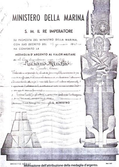 Luciano Minchio motivazione medaglia argento foto tratta dal libro De Maris Profundis di L.Lomgo-L.Cresta p.g.c. a www.lavocedelmarinaio.com)