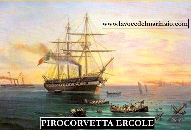 Pirocorvetta Ercole dipinto di Edoardo De Martino - www.lavocedelmarinaio.com