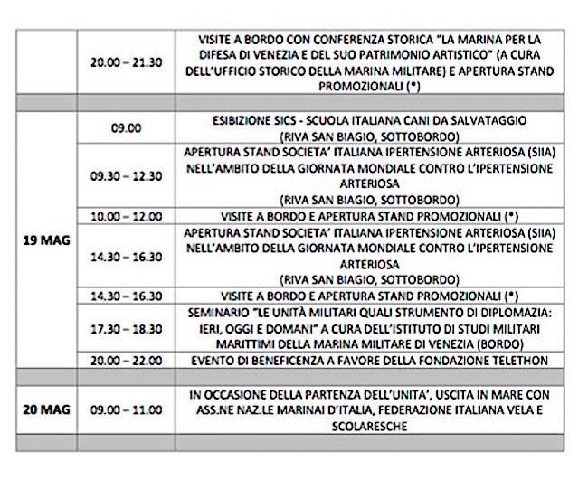 programma sosta a Venezia nave Vespucci (2) - www.lavocedelmarinaio.com