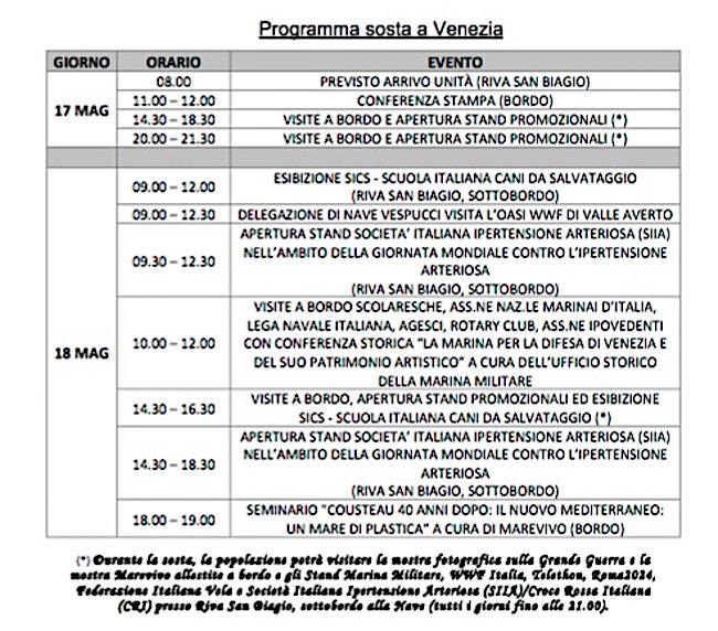 programma soste nave Vespucci a Venezia (1) - www.lavocedelmarinaio.com